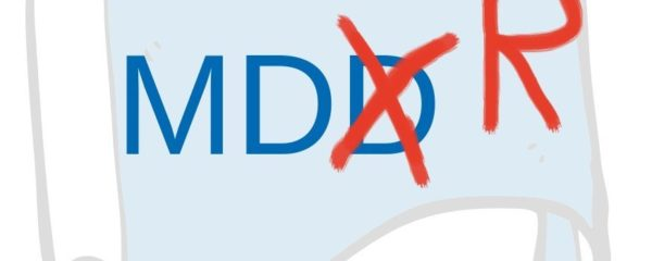 A paper with the letters MDD, the D is crossed out and an R added to make it MDR. It symbolises the transition.