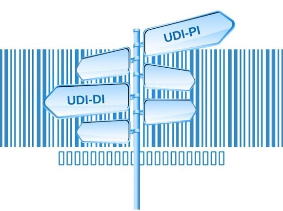A bar code in the background, a pole with direction signs, UDI-DI and UDI-PI written on it, symbolizing the UDI system, enhancing traceability .