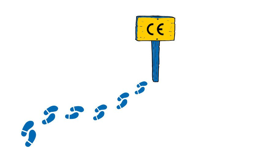 footsteps towards a sign saying ce, symbolizing step by step guide to EU CE medical device certification