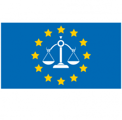 European flag with scale symbolising CJEU European Court of Justice