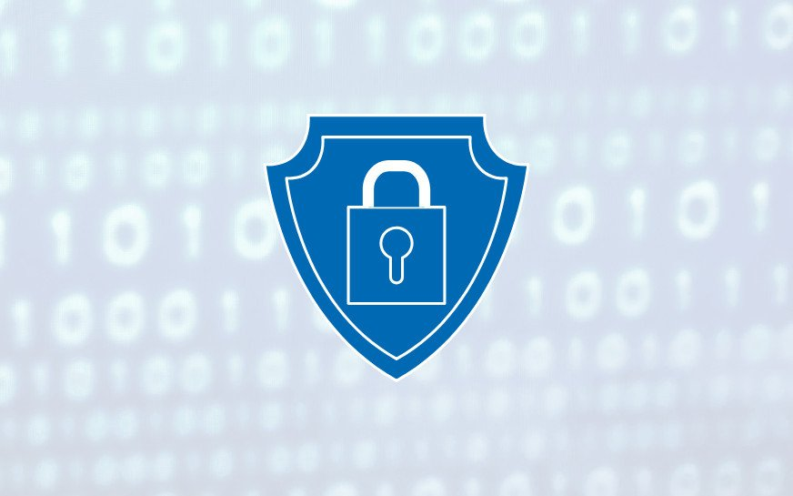 A shield in with a lock on it in the foreground, 0 and 1 in the background, symbolizing cybersecurity principles in software