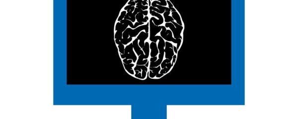 A monitor showing white outlines of a brain on a black background, symbolizing Medical Imaging