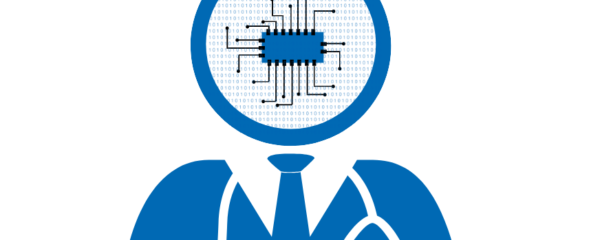 Silhouette of a doctor, the head filled with bits and a chip, symbolizing artificial intelligence in medicine .