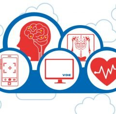In the foreground a cloud with bubbles in it, showing a smart phone, a monitor, a heart with a an ecg symbol on it, an x-ray-image, and a brain with lighting dots, symbolizing cloud data.