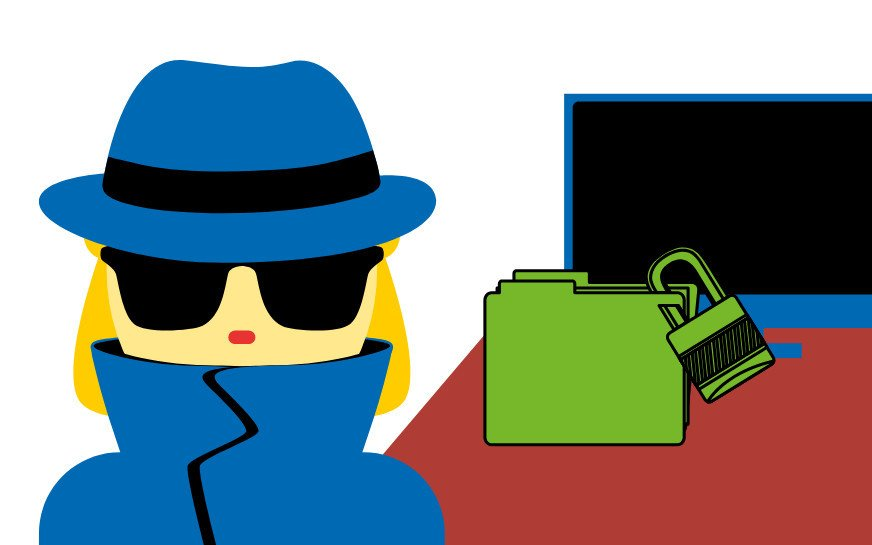A woman wearing a coat, a hat and sunglasses, standing in front of a desk with a locked file on it. Symbolizing trade secrets .